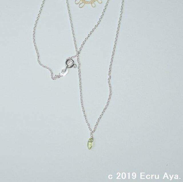 *秋の雷*宝石質ペリドットのマーキスファセットカットのネックレスの画像1枚目
