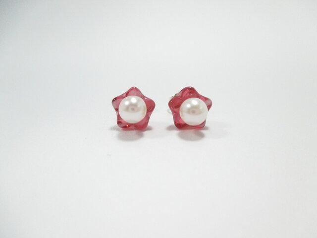 【Akoya Pearl pierced earrings &チェコビーズ】の画像1枚目