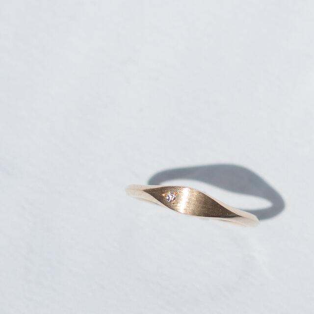 La Feuille -Pinky Ring-◇K14YG/PG×Diamond 0.007ctの画像1枚目