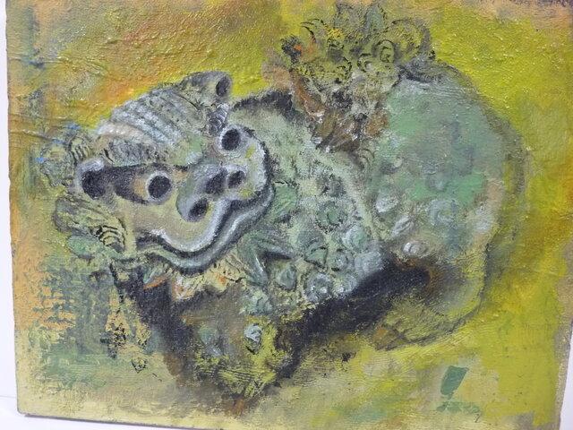 鬼瓦ですが本堂建て替えの折に庭に降ろされた狛犬さん風を描いて見ました。の画像1枚目