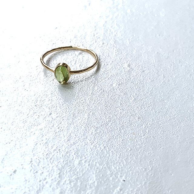 十金小型天然石入縦槌目指輪かんらん石 rr-79-peの画像1枚目