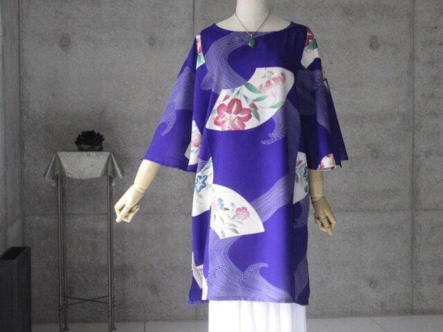 絽フレアー袖のチュニック/着物リメイク/ヴィンテージの画像1枚目
