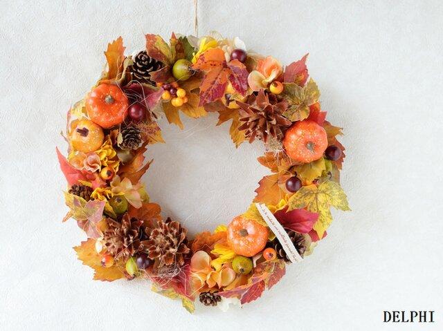カボチャと秋色リーフいっぱいのリース【アーティフィシャルフラワー】秋ギフト 秋色 お祝い ハロウィンの画像1枚目