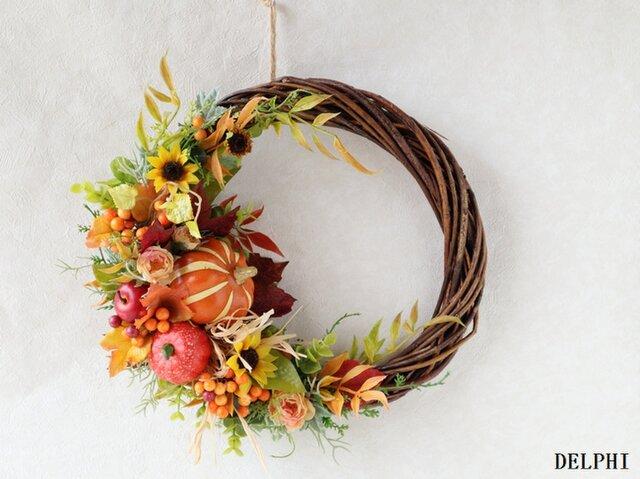 かぼちゃと実もののオータムリースA【アーティフィシャルフラワー】秋ギフト 秋色 お祝い ハロウィンの画像1枚目