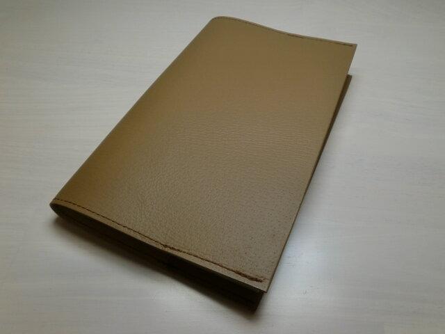 ★送料無料★文庫本サイズ・ベージュ・ピッグスキン・一枚革のブックカバー・0332の画像1枚目