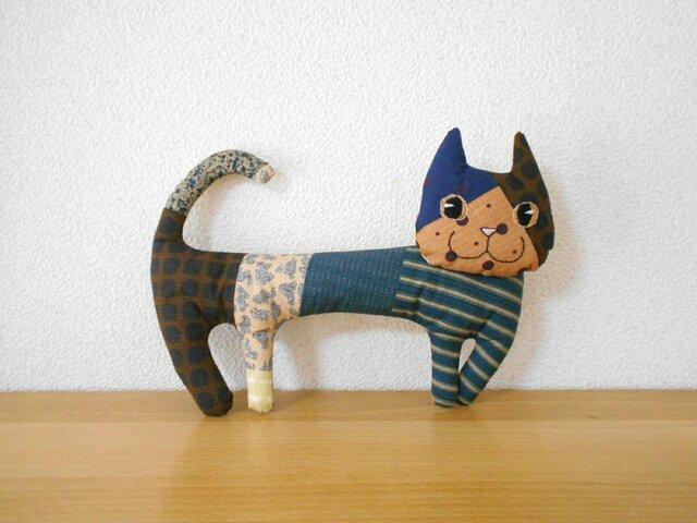 ほそーい猫4 ハチワレパッチワークの画像1枚目