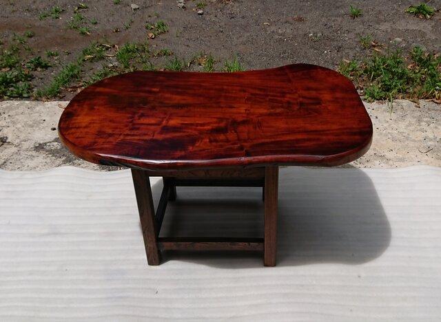 【送料無料】トチ一枚板ダイニングテーブル・ローテーブル 拭き漆仕上げ【一点もの】の画像1枚目