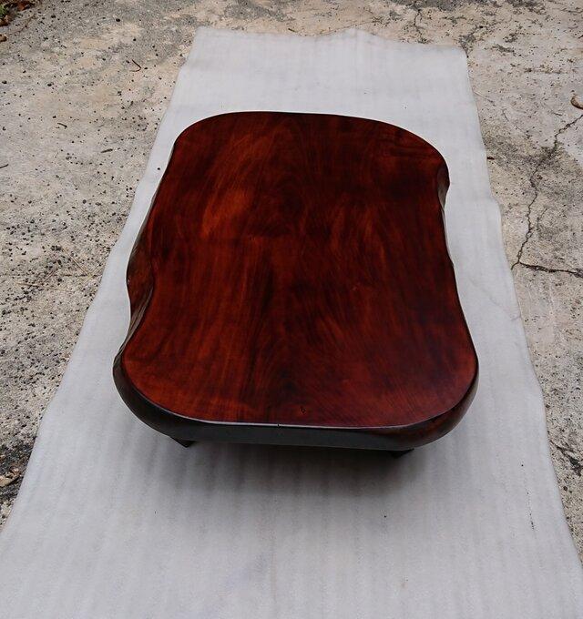 【送料無料】トチ一枚板ローテーブル・ダイニングテーブル 拭き漆仕上げ【一点もの】の画像1枚目