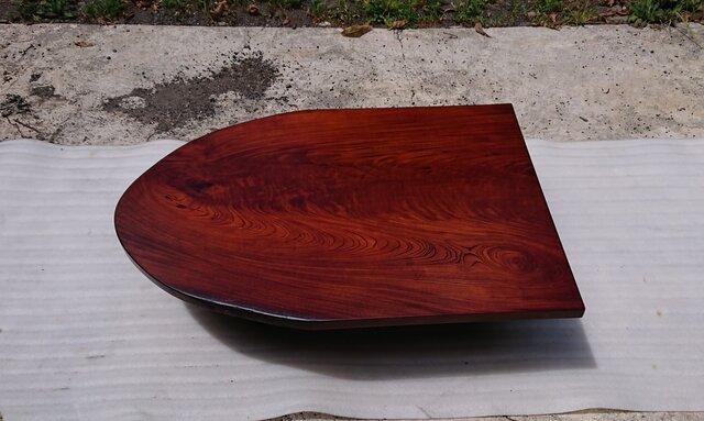 【送料無料】ケヤキ一枚板半楕円形ローテーブル・ダイニングテーブル 拭き漆仕上げ【一点もの】の画像1枚目