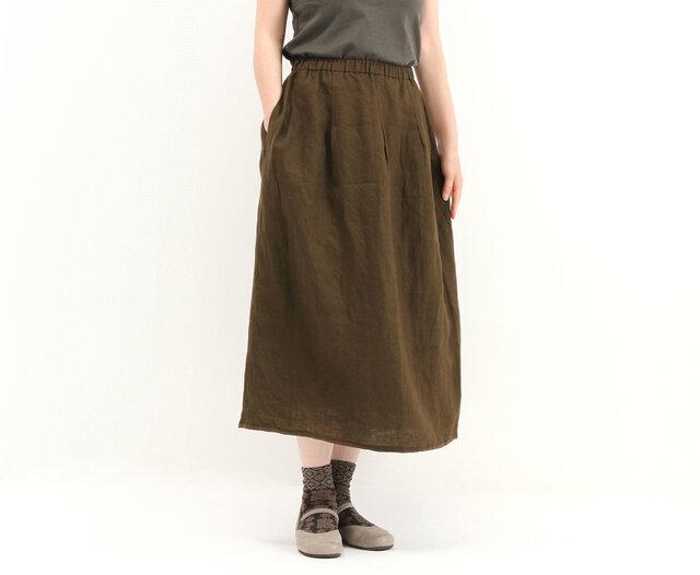 タックギャザースカート(茶)#267の画像1枚目