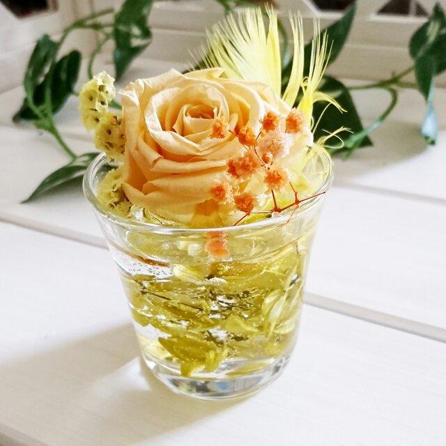 ☆グラスハーバリウム 黄色①☆の画像1枚目