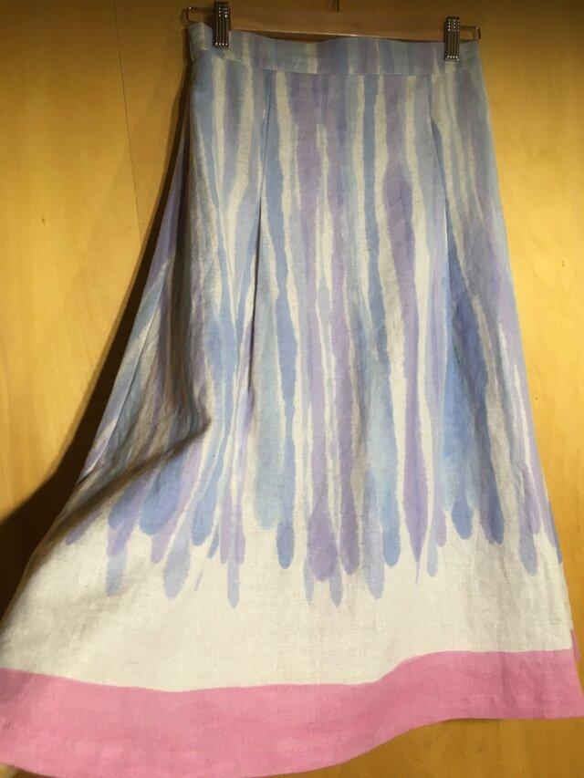 ◆現品限り◆手描き染め 日本製麻のスカート▫︎あまい雫の薄紅スソ色▫︎の画像1枚目