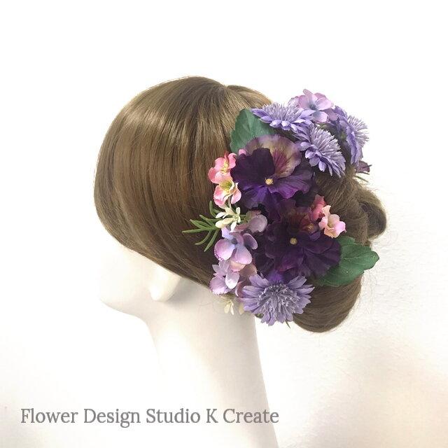 ラベンダー色のデージーと紫陽花のヘッドドレス(Uピン 10本セット) 結婚式 パンジー パープル 秋色 ウェディングの画像1枚目