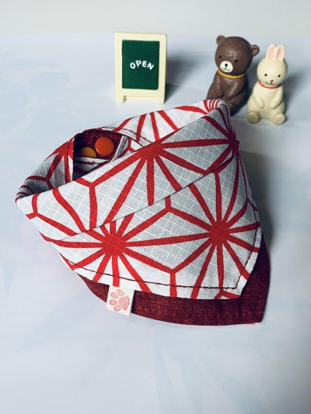 麻の葉柄犬用バンダナ6-1.Mの画像1枚目