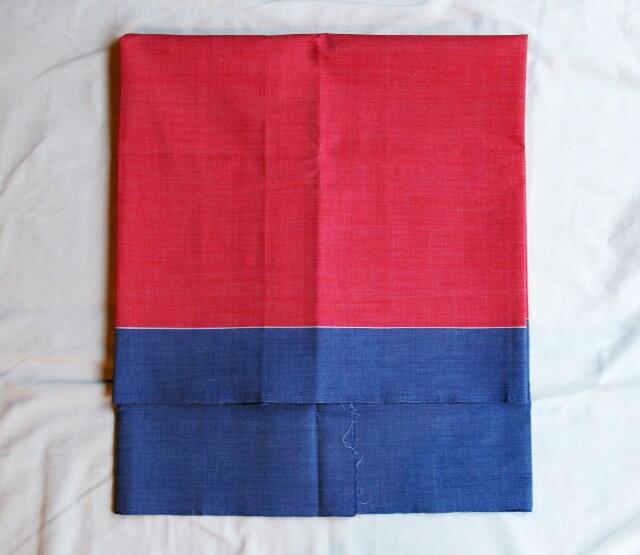 【送料無料】ツートンカラー赤×青 90cm×180cmの画像1枚目
