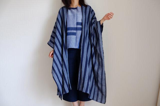 ロング ケープ コート Re_1say /リネン ストライプ 【 藍色 と 浅葱色 】1点モノ long capeの画像1枚目