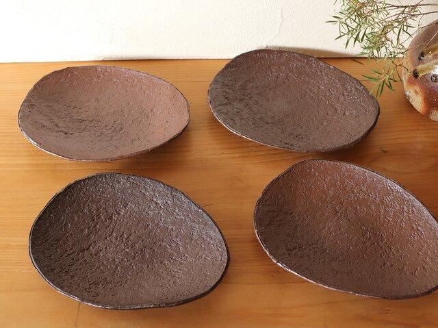 備前焼 楕円皿・4枚セット(約17.5cm) sr4-055の画像1枚目