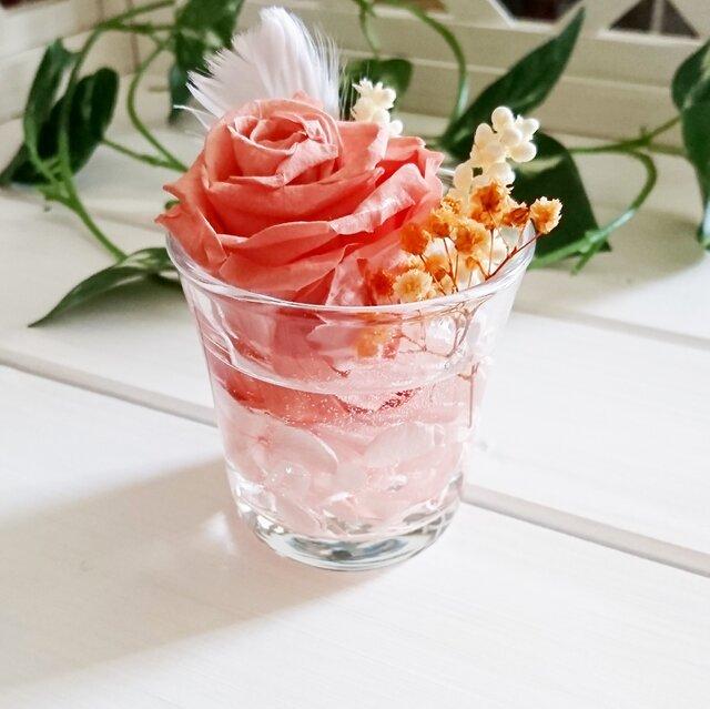 ☆グラスハーバリウム ピンク系①☆の画像1枚目