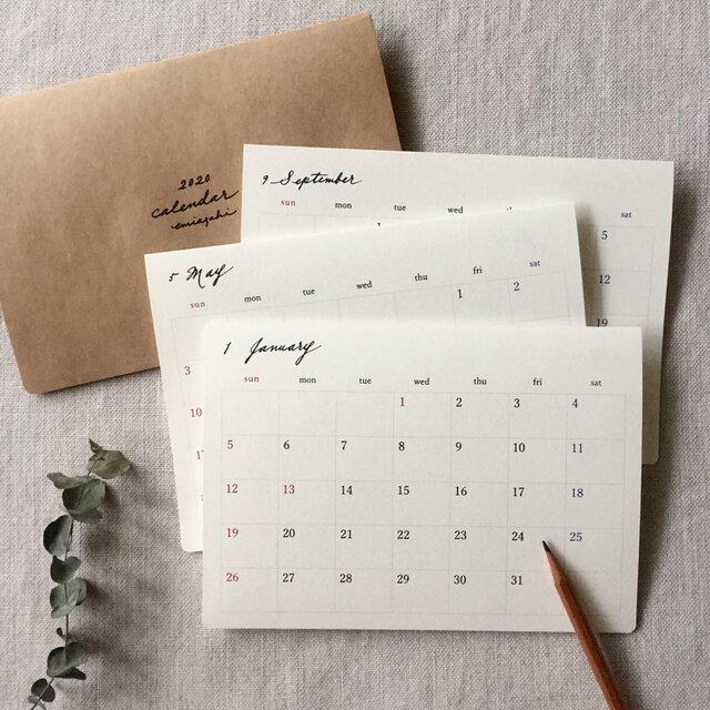 月曜始まりOK*シンプルなカレンダー2020*始まり月自由の画像1枚目