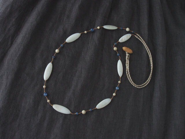 Marquise Long Necklace(White×Blue)の画像1枚目