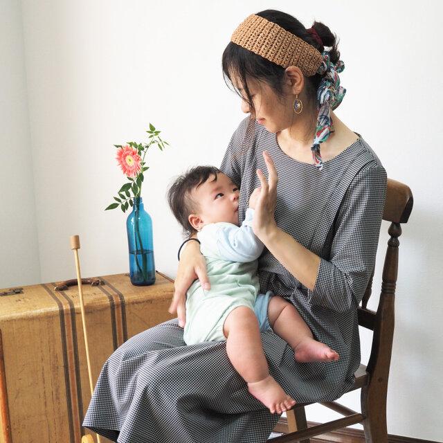 【XS-LL受注制作】授乳用◇アーミッシュ風シンプルワンピース(好きな布地を選べます)の画像1枚目