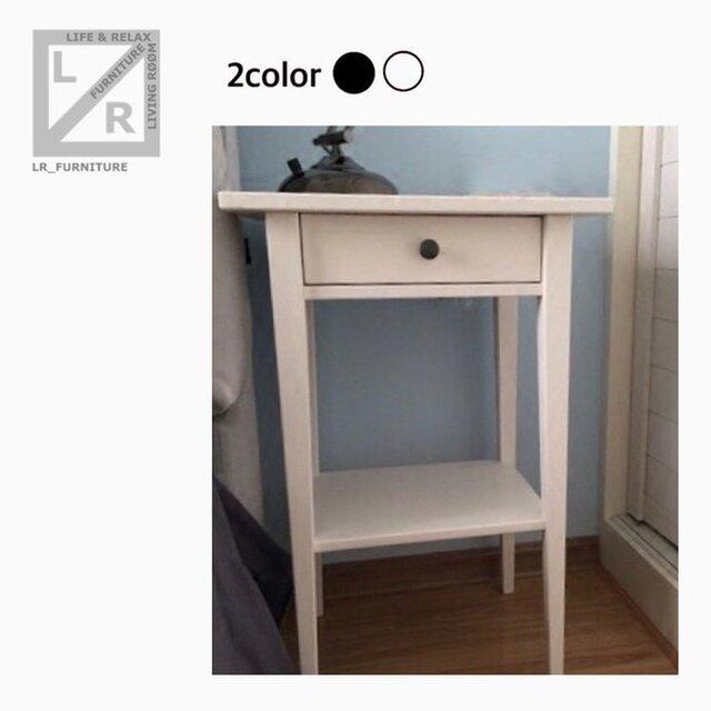 オーダーメイド 職人手作り ベットサイドテーブル サイドテーブル 北欧モダン 白家具 ホワイト 天然木 サイズオーダー可の画像1枚目