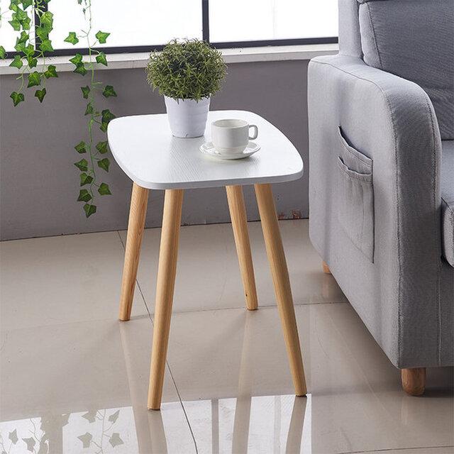 オーダーメイド 職人手作り サイドテーブル ミニテーブル コーヒーテーブル 白家具 北欧モダン 天然木 サイズオーダー可の画像1枚目