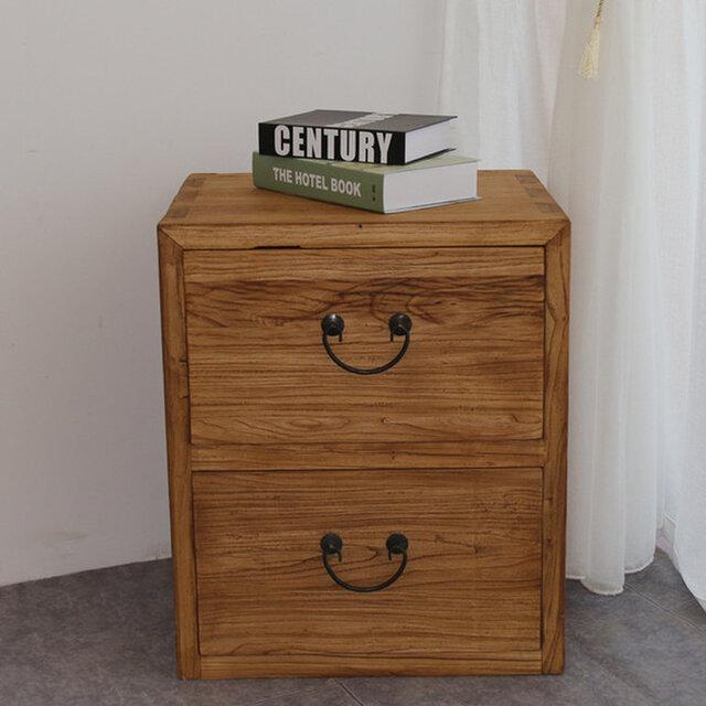 受注生産 職人手作り 古材 シンプル 収納 キャビネット あり組 天然木 ベットサイドテーブル アンティーク風 木目の画像1枚目