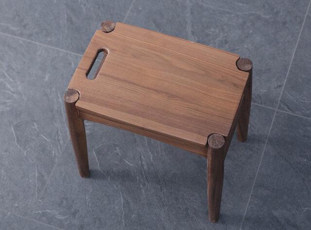 受注生産 職人手作り スツール 椅子 ウォールナット 鏡台スツール 北欧モダン 天然木 木目 無垢材 家具 リビングの画像1枚目