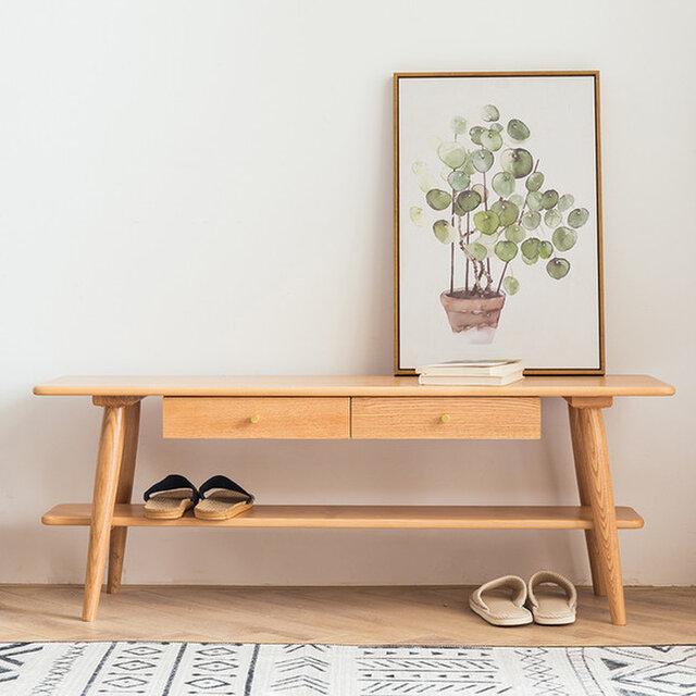 オーダーメイド 職人手作り ローボード テレビ台 収納 ベンチ シンプル 北欧 天然木 木目 家具 サイズオーダー可の画像1枚目