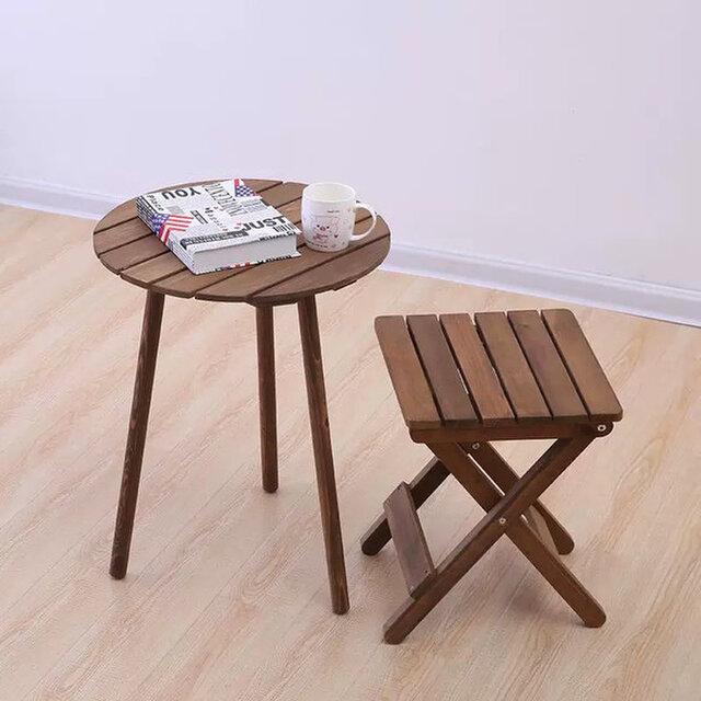 受注生産 職人手作り 折り畳みスツール 椅子 カフェ風 シンプル 北欧 お洒落 天然木 家具 スツール チェア 木工の画像1枚目