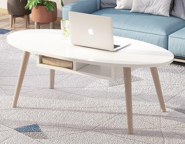 オーダーメイド 職人手作り ローテーブル コーヒーテーブル 白家具 モノトーン 北欧モダン サイズオーダー可 天然木の画像1枚目