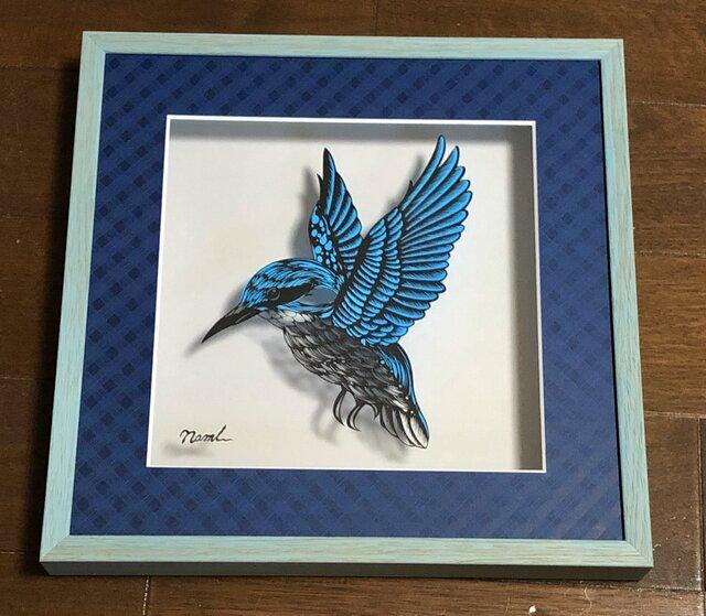 額装済み切り絵作品・青い鳥の画像1枚目
