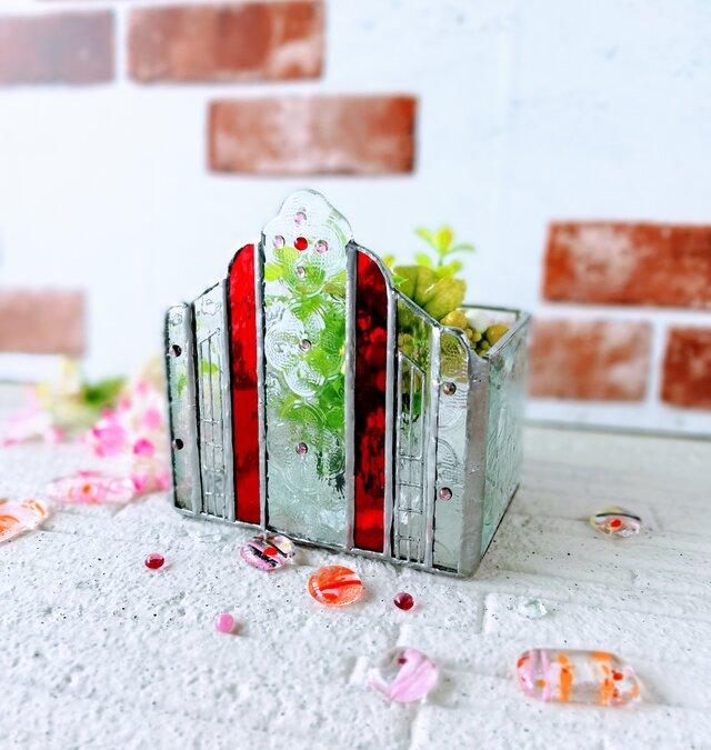 【小さな街にある教会 ガラスオブジェ「カラー:赤色」】❇️キャンドルBox ❇️レターBox❇️小物入れBoxの画像1枚目