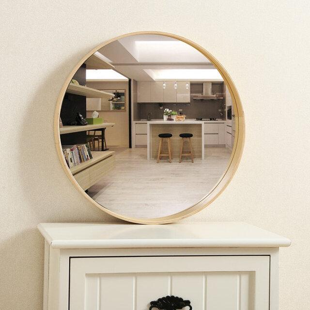 受注生産 職人手作り 北欧 シンプル 木製ラウンドミラー 壁掛け 化粧鏡 天然木 木目 シナベニア 木工 ナチュラルの画像1枚目