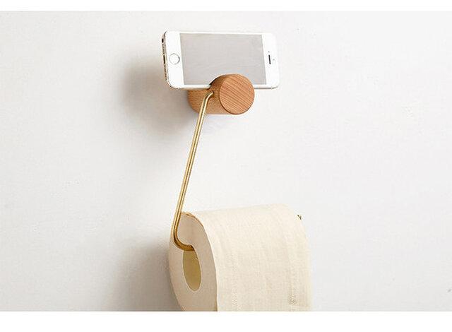 受注生産 職人手作り 北欧 ペーパータオルホルダー ロールホルダー 真鍮 トイレ 無垢材 木製 木工 天然木 雑貨 家具の画像1枚目