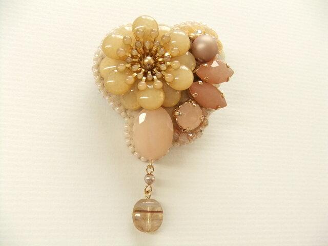 Brooch ビーズ刺繍 花(K0809)の画像1枚目