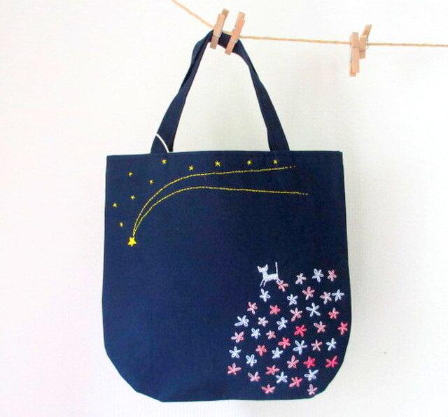 銀色猫と流れ星*手提げバッグ ピンクの画像1枚目