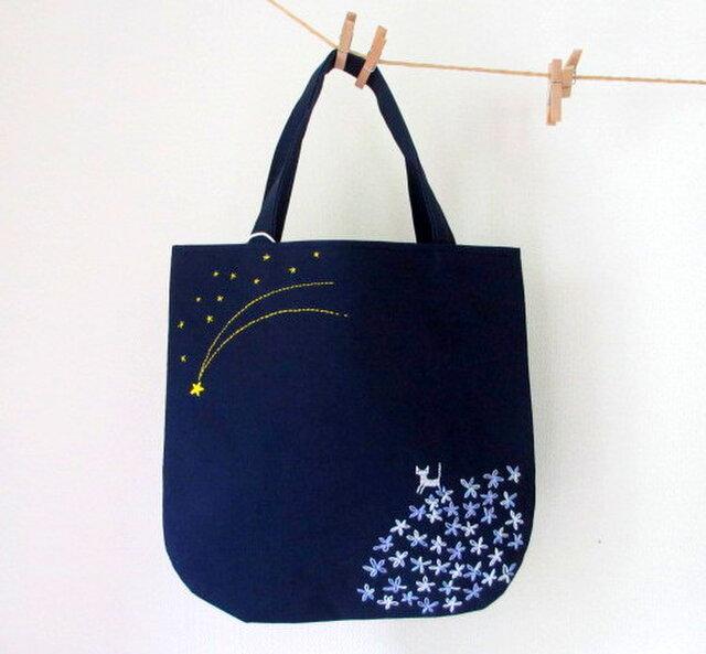 銀色猫と流れ星*手提げバッグ パープルの画像1枚目