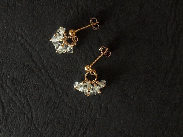 ハーキマーダイヤモンドの耳飾りの画像1枚目