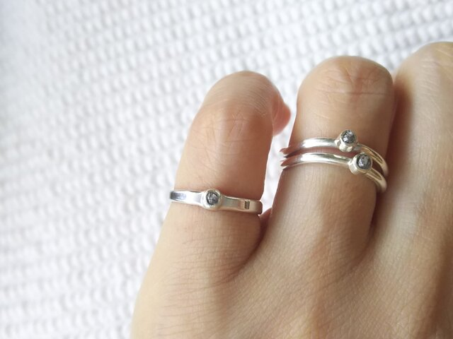 ピンキーリング ラフダイヤモンド フリーサイズの画像1枚目