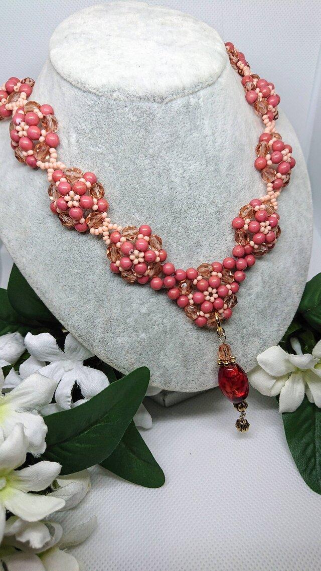 秋桜      (チェコ・ピンクのネックレス)の画像1枚目