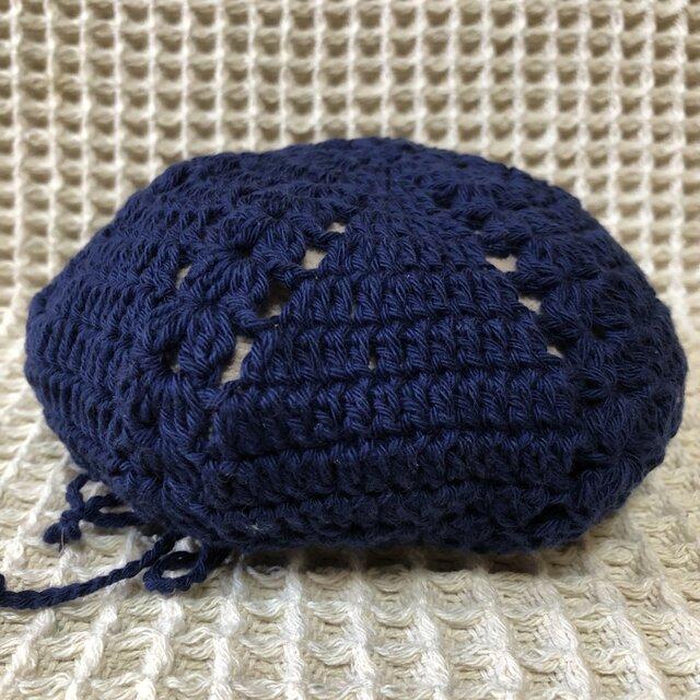 ☘️クローバー柄のベレー帽*(紺色)*キッズ・大人の画像1枚目