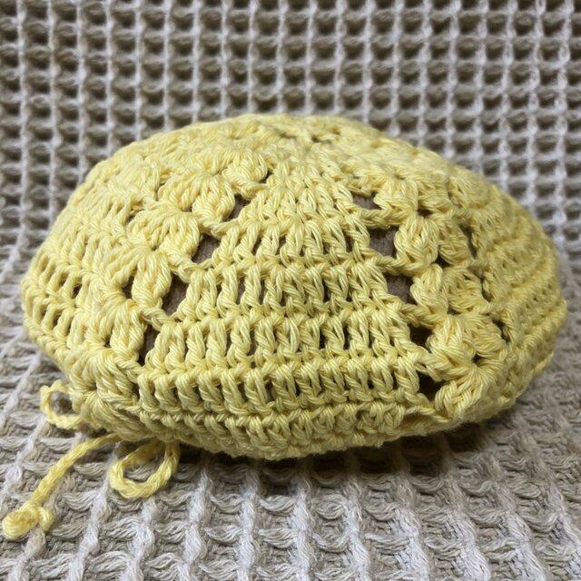 ☘️クローバー柄のベレー帽*(黄色)*キッズ・大人の画像1枚目