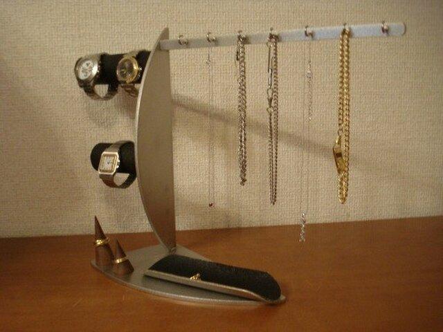 ネックレス7本、腕時計3本、リング2ヶブラックアクセサリースタンドの画像1枚目