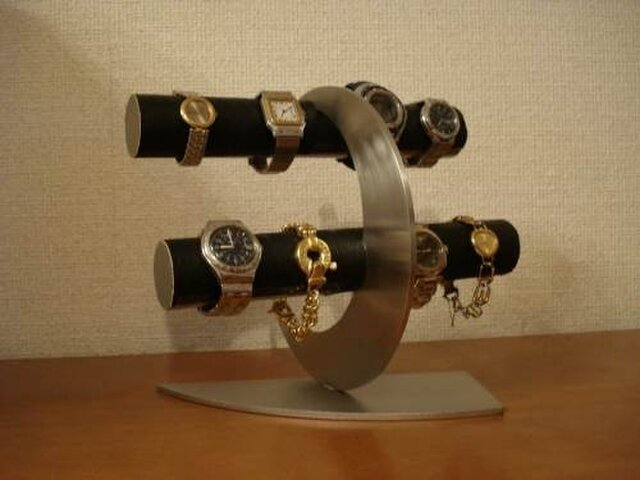 プレゼントに ブラック三日月8本掛け腕時計スタンドの画像1枚目