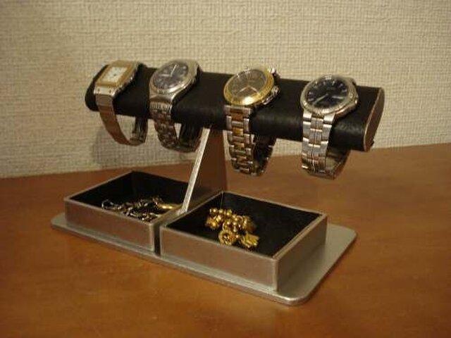 腕時計スタンド ブラックダブルでかいトレイ AKデザインの画像1枚目