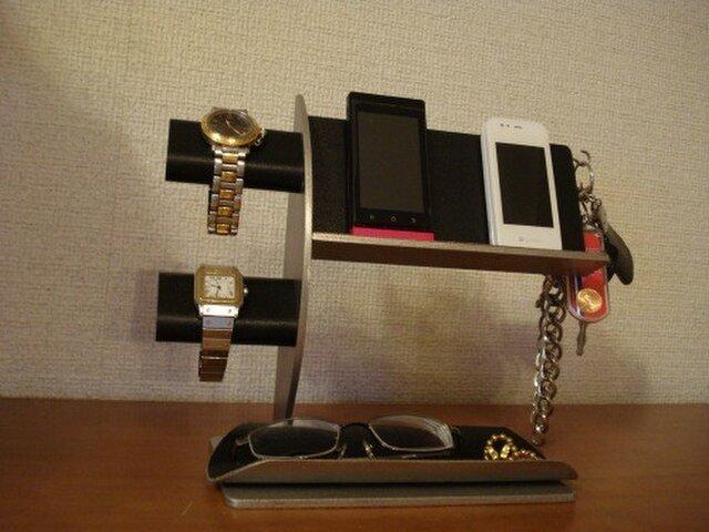 腕時計スタンド ブラック腕時計2本・キー・携帯電話スタンド AKデザインの画像1枚目