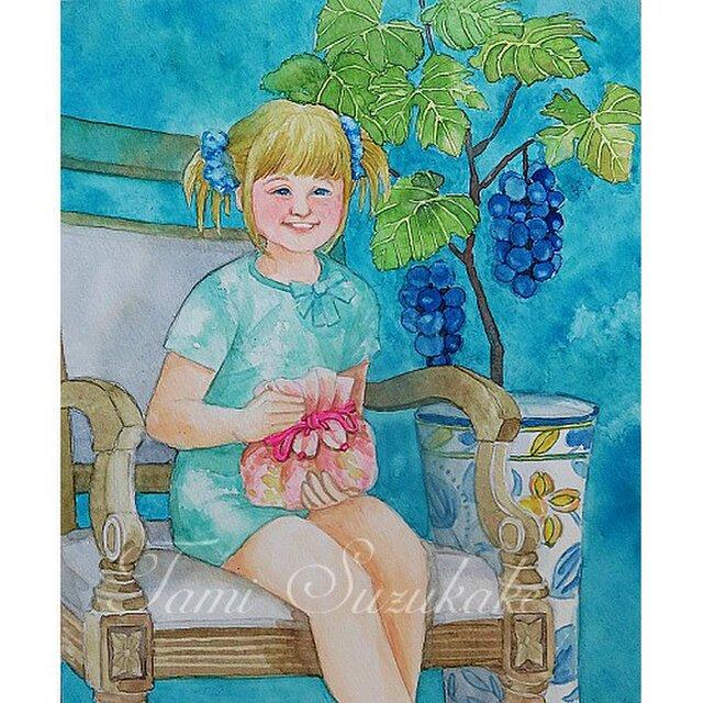 水彩・原画「葡萄の木と少女」の画像1枚目