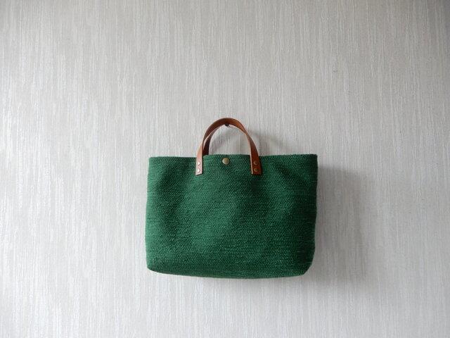 裂き織りのバッグL横長 グリーンの画像1枚目